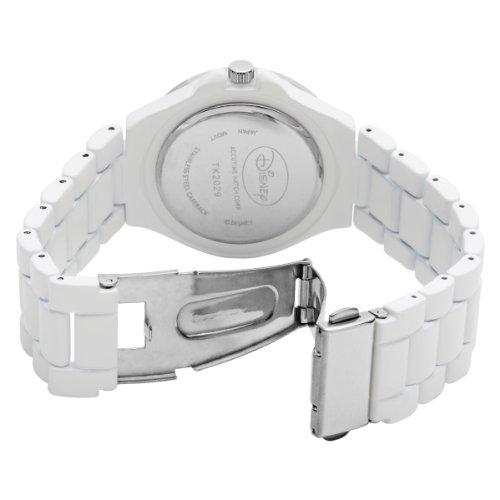 Disney Women's TK2029 Tinkerbell Silver Dial White Enamel Bracelet Watch