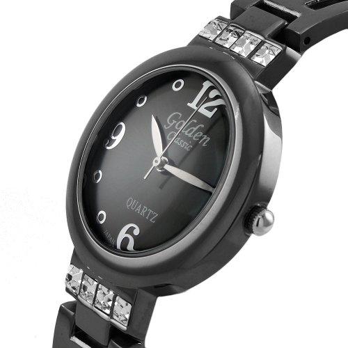 Golden Classic Women's 2133_GUN Metal Glitter Queen Rhinestone Accent Bracelet Watch